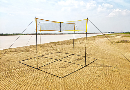 Large Stock Beach Camping Yard Game Portable Four Square Meets Beach Volleyball Net And Post Set
